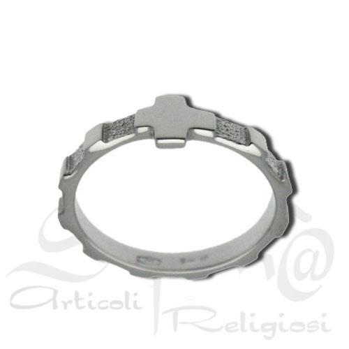 anello decina rosario argento con croce
