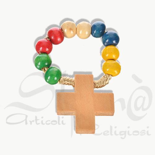 decina anello missionaria in legno con croce