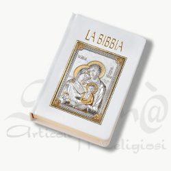 Custodia bibbia bianca sacra famiglia in argento