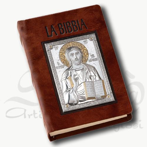 custodia bibbia marrone pantocratore in argento