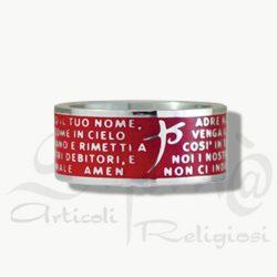 anello padre nostro smaltato rosso in acciaio
