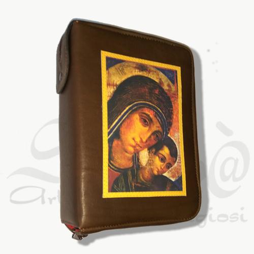 custodia bibbia marrone vergine con bambino in pelle